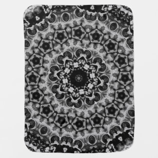 BLACK AND WHITE KALEIDOSCOPIC GEOMETRIC MANDALA BABY BLANKET