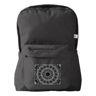 BLACK AND WHITE KALEIDOSCOPIC GEOMETRIC MANDALA BACKPACK