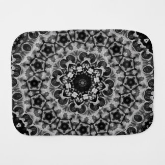 BLACK AND WHITE KALEIDOSCOPIC GEOMETRIC MANDALA BURP CLOTH