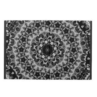 BLACK AND WHITE KALEIDOSCOPIC GEOMETRIC MANDALA CASE FOR iPad AIR