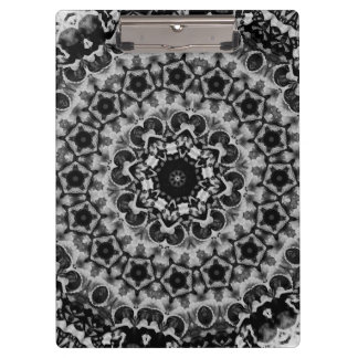 BLACK AND WHITE KALEIDOSCOPIC GEOMETRIC MANDALA CLIPBOARD