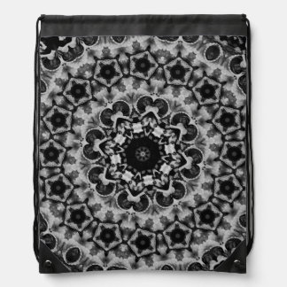 BLACK AND WHITE KALEIDOSCOPIC GEOMETRIC MANDALA DRAWSTRING BAG