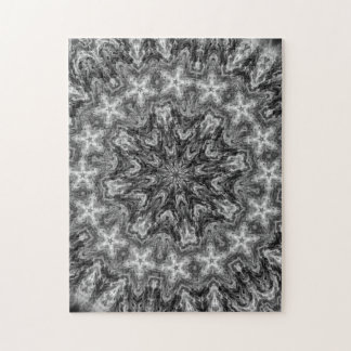 BLACK AND WHITE KALEIDOSCOPIC GEOMETRIC MANDALA JIGSAW PUZZLE