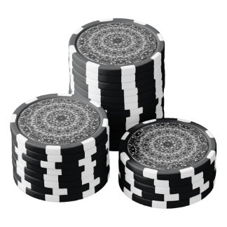 BLACK AND WHITE KALEIDOSCOPIC GEOMETRIC MANDALA SET OF POKER CHIPS