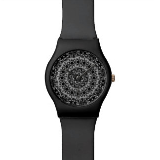 BLACK AND WHITE KALEIDOSCOPIC GEOMETRIC MANDALA WATCH