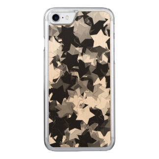 Black and White Kawaii Stars Background Carved iPhone 8/7 Case
