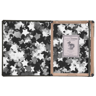 Black and White Kawaii Stars Background Cover For iPad