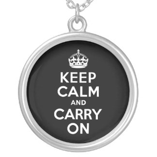 Black and White Keep Calm and Carry On Silver Plated Necklace