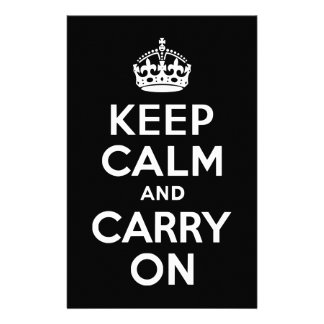 Black and White Keep Calm and Carry On Stationery