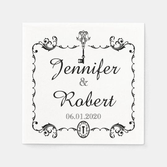 Black and White Key Wedding Napkin Paper Serviettes