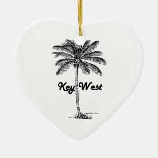 Black and White Key West Florida & Palm design Christmas Ornament