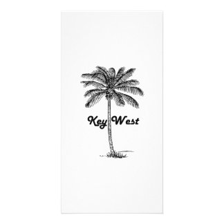 Black and White Key West Florida & Palm design Personalized Photo Card