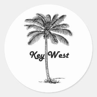 Black and White Key West Florida & Palm design Round Sticker