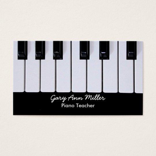 Black and White Keys Piano Teacher Business Card