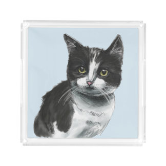 Black and White Kitten Drawing Acrylic Tray