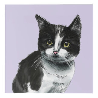 Black and White Kitten Drawing Acrylic Wall Art