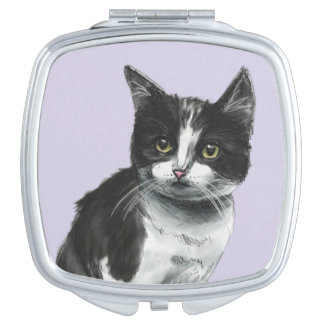 Black and White Kitten Drawing Compact Mirror