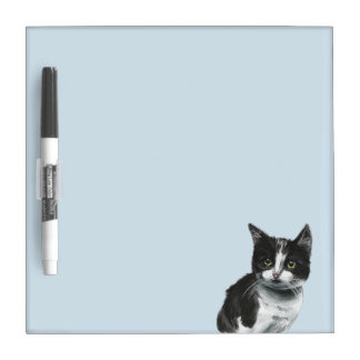Black and White Kitten Drawing Dry Erase Board