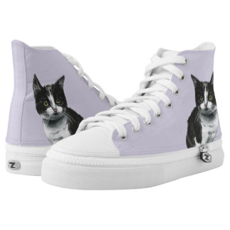 Black and White Kitten Drawing High Tops