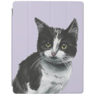 Black and White Kitten Drawing iPad Cover