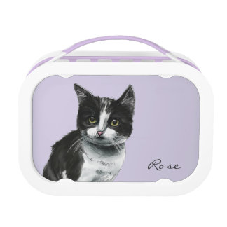 Black and White Kitten Drawing Lunch Box