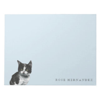 Black and White Kitten Drawing Notepad