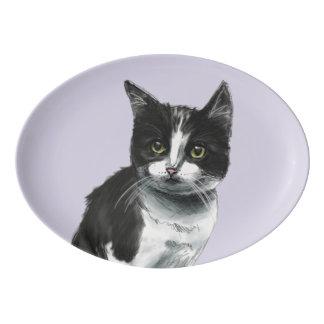 Black and White Kitten Drawing Porcelain Serving Platter