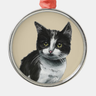 Black and White Kitten Drawing Silver-Colored Round Decoration