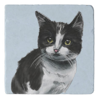 Black and White Kitten Drawing Trivet