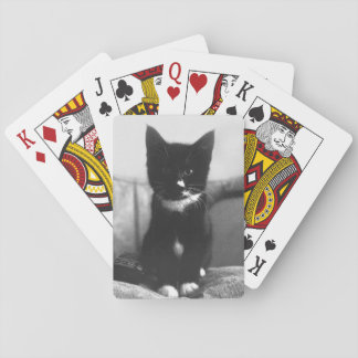 Black and White Kitten Playing Cards