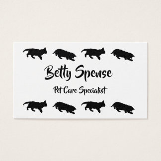 Black and White Kitten Silhouettes Business Card