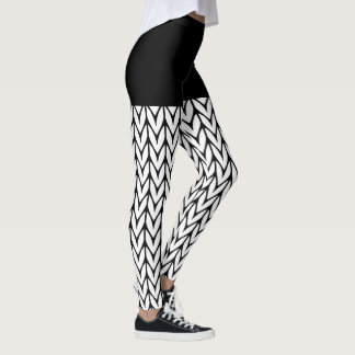 Black and White Knitting Motif Style Decor on Leggings