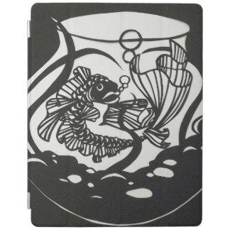 Black and White Koi Paper cut Design iPad Cover