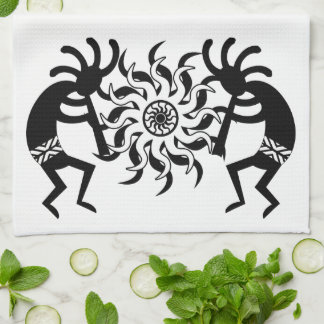Black And White  Kokopelli Southwest Tribal Sun Tea Towel
