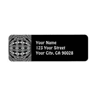 black and white return address label