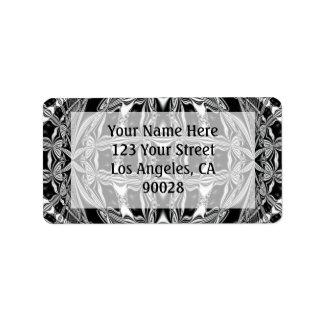 black and white address label