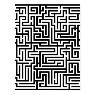 Black and white labyrinth maze postcard