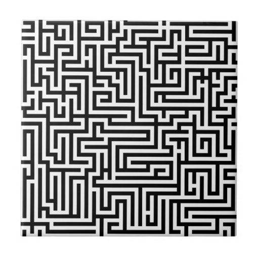 Black and white labyrinth maze tiles