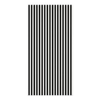 Black and White Lace Cap Cabana Stripe Pattern Customised Photo Card