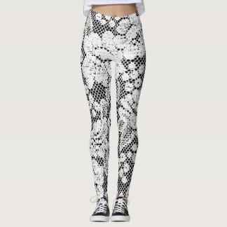 Black and White Lace Design Leggings