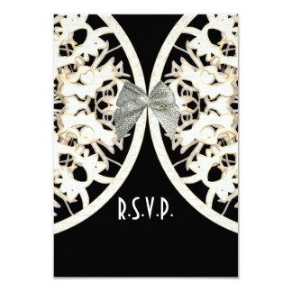 Black and white lace filigree wedding R.S.V.P 9 Cm X 13 Cm Invitation Card