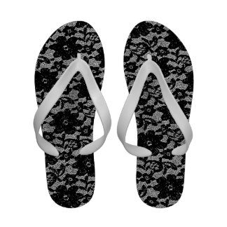 Black and white lace flip flops
