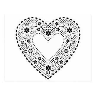 Black and White Lace Heart Post Card