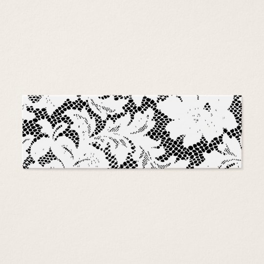 Black and White Lace Skinny Business Card Template