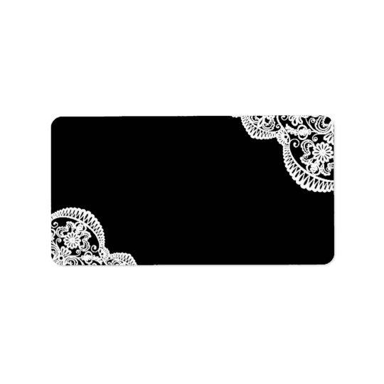 Black and White Lace Wedding Mailing Address Label