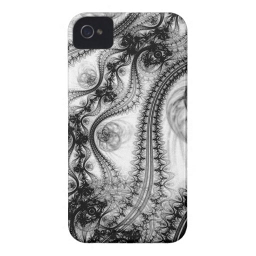 Black and White Lacy Swirls iPhone 4 Cover