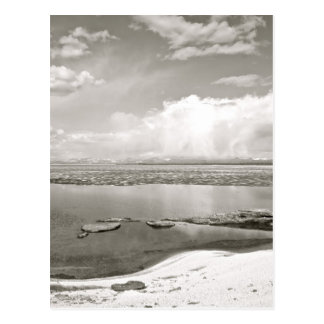 BLACK AND WHITE LAKE VIEW POSTCARD