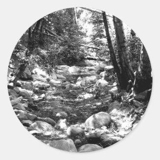 Black And White Landscape 24 Round Sticker
