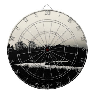 Black and White Landscape Industrial Art Dartboard