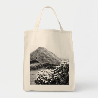 Black and white landscape with hydrangeas grocery tote bag